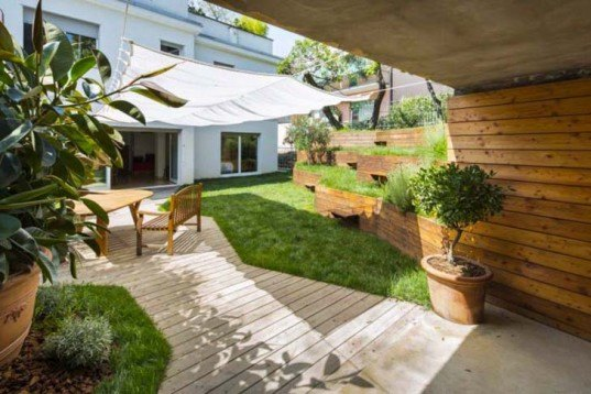 Nicola Spinetto, terraced garden, Pop Up Garden, Extension Paysagere, Multi-layered space, Italy, Daniele Mainetti, Douglas Fir wood, untreated wood, Daylighting, Gardening, Landscape Architecture, Green renovation, Green Materials,