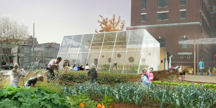 WORKac Adds a Cheery Greenhouse and Kitchen to P.S. 216's Edible Schoolyard