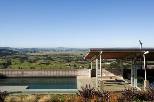 foothills house, new zealand, passive solar, Stratchan Group Architects, Whangamarino Wetlands, rainwater collection, Waikato landscape, angled roof, interior courtyard, thermal mass, glazed walls,