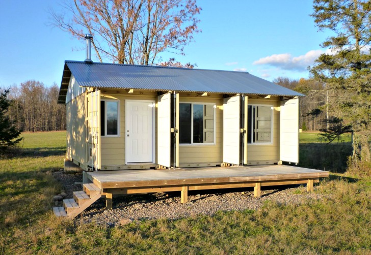 Nice Cost To Build A House In Wisconsin #3: Man Builds Cozy Tin Can Cabin Out Of Shipping Containers In Northern  Wisconsin | Inhabitat - Green Design, Innovation, Architecture, Green  Building