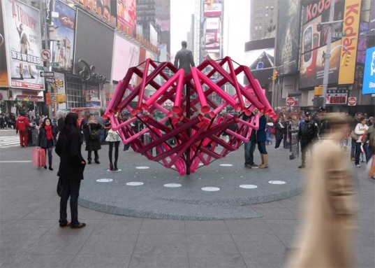 eco design, green design, Kammetal, sustainable design, Times Square, times square alliance, times square heart sculpture, Valentine Sculpture, valentines day new york city, valentines day nyc, van alen institute, Young Projects