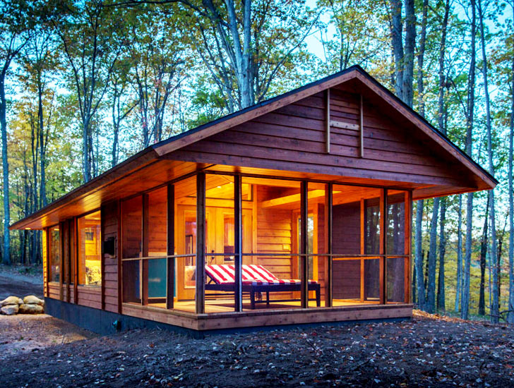 Tiny ultraportable escape cabin can be moved anywhere for Rv log cabins