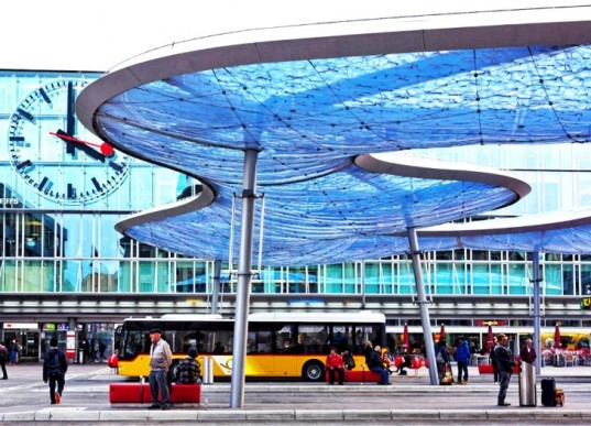 Aarau Station Cushion, Cloud Sun Shade, Aarau Station bus station,architecture, Switzerland, urban design, inflatable membranes, public transportation design, bus stop design, synthetic material ETFE