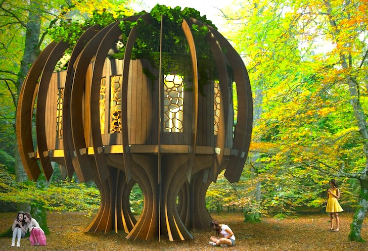 blue forest quiet treehouse inhabitat green design. Black Bedroom Furniture Sets. Home Design Ideas