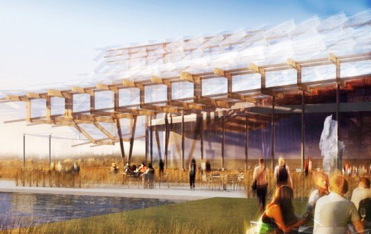 Studio Link-Arc, Studio Link-Arc China pavilion, Milan Expo 2015, Milan Expo 2015 China, chinese traditional architecture, undulating roofs, exhibition spaces, Expo architecture, timber roofs, LED installations, chinese vernacular architecture, Tsinghua University, Milan Expo, pavilion design, pavilions