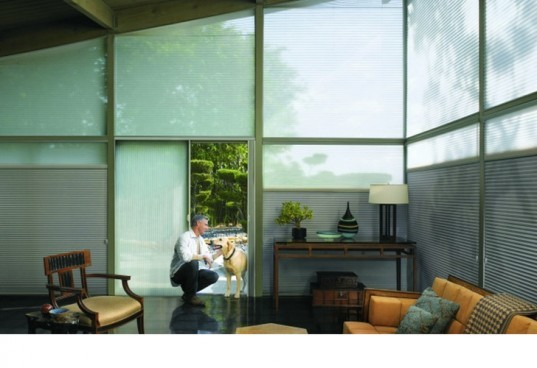 "Decorview Duette Shades On a Glass House, Architella Duette Shades, green shades, eco shades"" title=""Decorview Duette Shades On a Glass House"