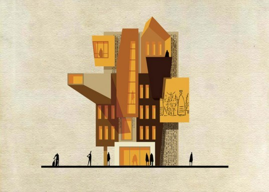 Federico Babina, archist, 20th century art, art, architecture, archibet, archicine, building art, architecture illustrations, cross sections, iconic art