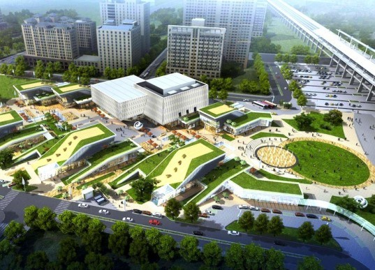 Benoy Architects, Taiwan High Speed, Hsin Chu Station Mall, Taiwan architecture, Taiwan architects, Shopping mall Taiwan, green-roofed architecture, green-roofed mall, mall design, solar energy, solar panels, rainwater harvesting, grey water reuse