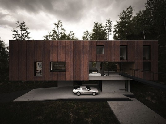 Hyde Architects, minimal home, quarry, quarry house, Modern House for a Photographer, south wales, Brecon National Park, corten steel, corten steel facade, elevated house, camera obscura, spatial tension, loggia, fire pit, in-situ concrete