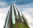 Vertical Hyper-Speed Train Hub Literally Flips High Speed Rail on its Head
