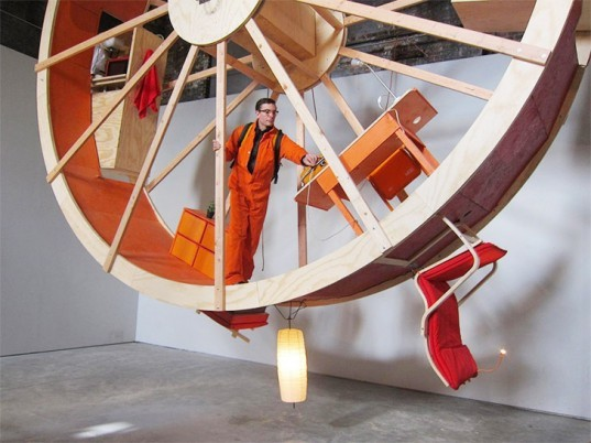 Alex Schwader art, Ward Shelley art, In Orbit Art installation, In Orbit hamster wheel, hamster wheel art, The Boiler Brooklyn, art installation, Counterweight Roommate, Rehearsal Space Philip Johnson, Rehearsal Space Glass House, temporary house, rotating houses
