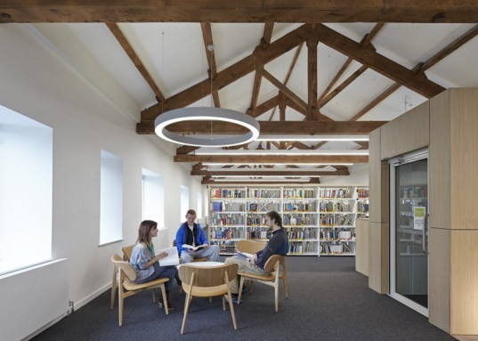 John McAslan + Partners, University of Cumbria, coverted Cumbrian barn, student center renovation cumbira, renovation, architecture, campus design, repurposed materials, landscape architecture, timber roofs, university design, UK campus redesign