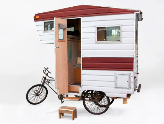RVs, camper, cab over camper, bike camper, human powered, camper bike, sustainable design, camping