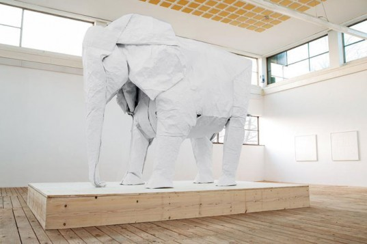 green design, eco design, sustainable design, Sipho Mabona, origami elephant, life sized origami elephant, museum KKLB, Beromunster Switzerland