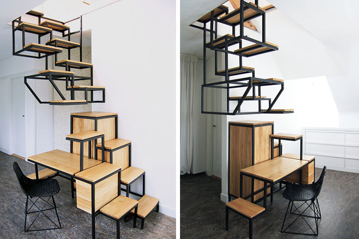 stairs furniture. mieke meijeru0027s suspended stairs storage furniture