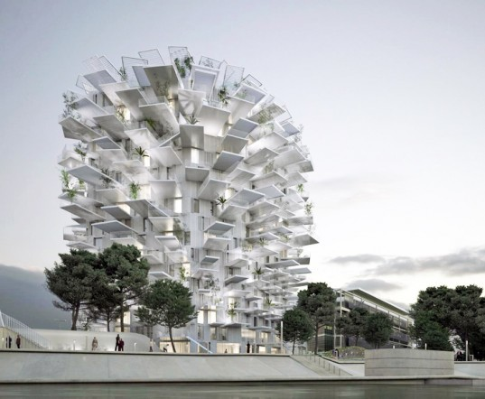 sou fujimoto, Sou Fujimoto Architects, Nicolas Laisné Associates, Manal Rachdi OXO, montpellier, arbre blanc, white tree tower, Architectural Folie of the 21st Century, cantilevered balconies, mixed use, residential tower, sunshades, tree-inspired architecture, tree-inspired