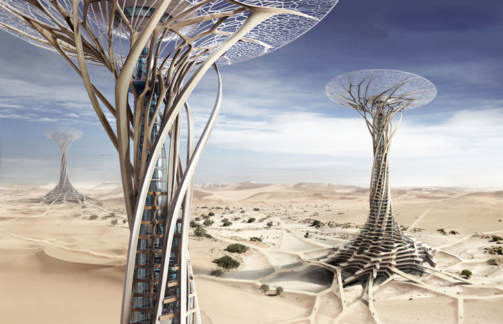 Sand Babel: Solar-Powered Twisting Skyscrapers 3D-Printed with Desert Sands