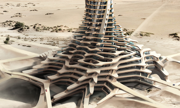 Sand Babel Solar Powered Twisting Skyscrapers 3d Printed