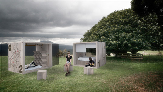 (f)route, tourism Melbourne , Jon Liow, Samson Tiew, pop up shelters, green design, tiny structures, tiny dwellings, (F)ROUTE BOX