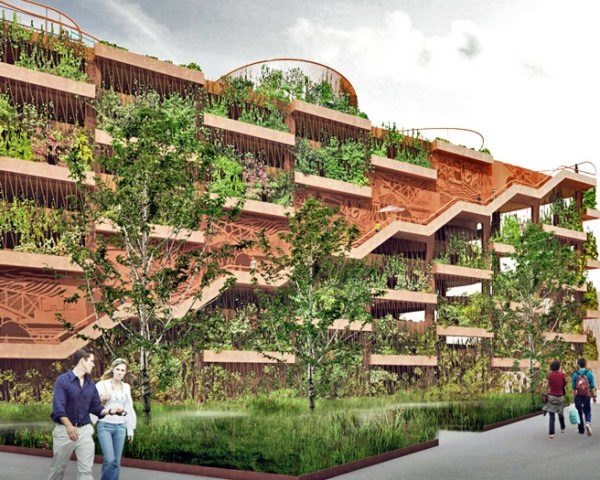 JAJA Architects, Nordhavn, Copenhagen, parking garage, green facade, red neighborhood, plant shelving system, planter boxes parking garage, centre pompidou, green roof, green roof public park, green roof playground, staircase frieze, staircase railing, the red thread