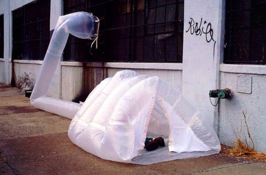 Michael Rakowitz paraSITE, paraSITE plastic shelter, homeless shelter, inflatable urban shelter, HVAC heat shelter, plastic bags shelter, HVAC systems, urban design, design for homeless, humanitarian design, temporary urban shelters, inflatable structures