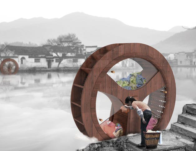 Zero-Carbon Waterwheel Washing Machine is Completely Powered by Flowing Water