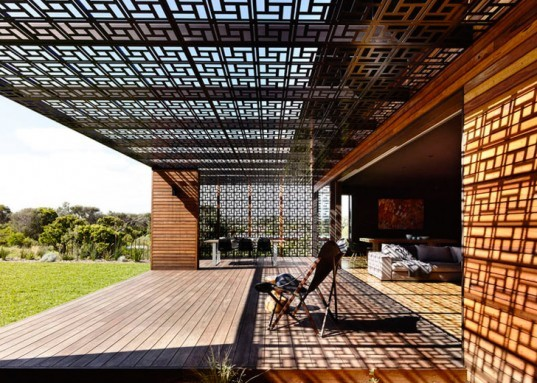 geometric patterned screens, recycled timber, Wolveridge Architects, mud-brick and breeze-block houses, heat-treated steel walls, blackened plywood walls, Alistair Knox,