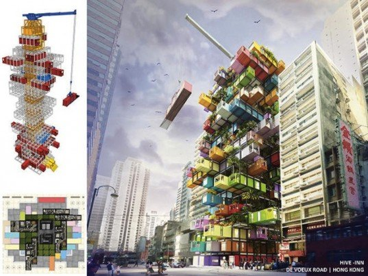 Jenga-like, jenga building, ova studio, recycled shipping containers, cargotecture, shipping containers, shipping container hotel, radical innovation awards competition, radical innovation awards competition 2014, mobile hotel, disaster relief