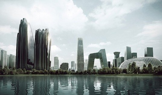 mad architects, chaoyang park, beijing, chaoyang park plaza, mountain shaped building, urban jungle, erosion, chinese landscapes, chinese landscape paintings, chinese classical landscape paintings, leed gold, mad architects beijing
