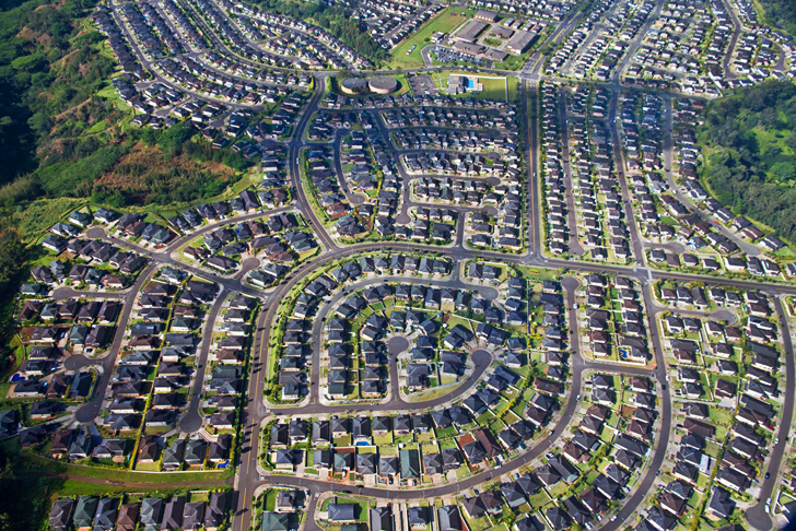 How suburban sprawl causes problems ranging from obesity to climate change for Subdivision planning and design