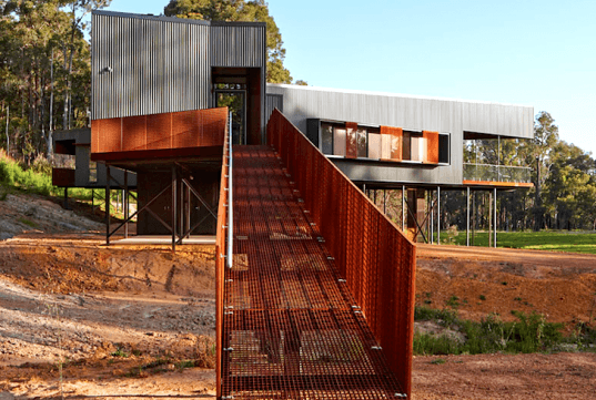 green design, eco design, sustainable design, Iredale Pederson Hook, Nannup Holiday House, stilted home, Australian landscape, zigzag home