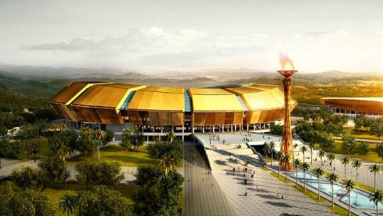 PTW Architects, Brazzaville Stadium, Democratic Republic of Congo, architecture, stadium design, All African Games, 2015, modern stadium design, urban architecture, sports facilities in africa, golden stadium