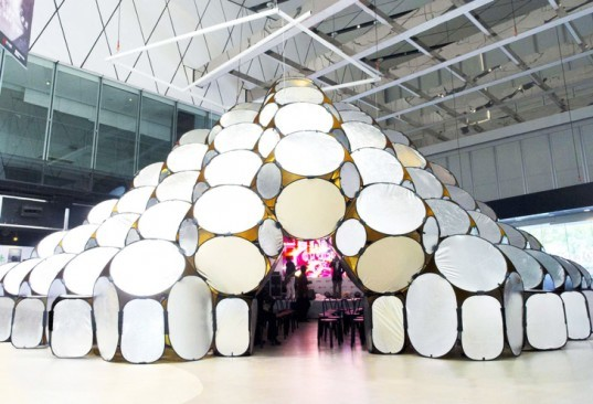 pop-up habitat, Repurposed materials, reflective panels, Architizer A+Awards, Temporary Structures, pop-up installations, modular installations, modular architecture, People's Architecture Office, beijing architects