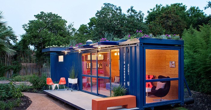 poteet architects container guest house inhabitat green design innovation architecture. Black Bedroom Furniture Sets. Home Design Ideas