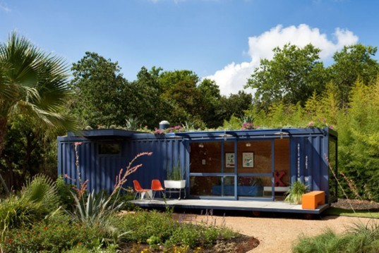 green design, eco design, sustainable design, JIm Poteet Architects, shipping container house, recycled soda caps, Stacey Hill San Antonio, recycled shipping containers, cargotecture