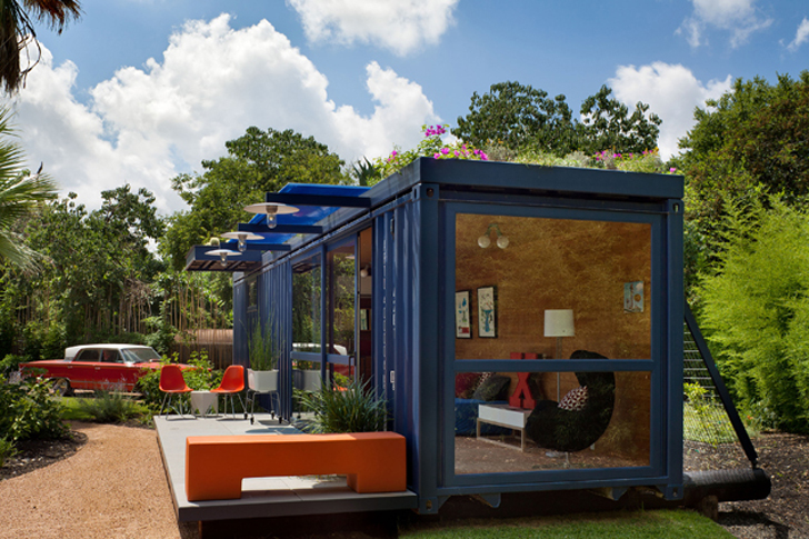 Flowers Top Awesome Shipping Container Guest House in Texas