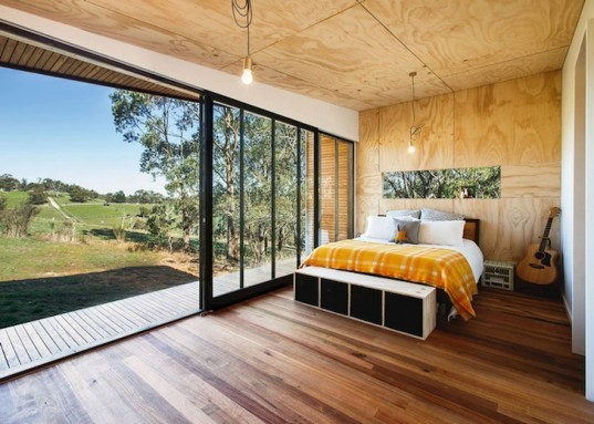 Pump house, branch studio architects, victoria, Australia, colorbond iron, lakeside retreat, rustic aesthetic, self sustaining home, eco-friendly home, sustainable architecture, solar panels, rain barrels, plywood, low-grade plywood, off grid house, off grid