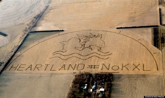 KXL, Keystone XL Pipeline, Nebraska, crop art, cornfield, Cowboy and Indian Alliance, Reject and Protect, Obama, White House, tar sands, TransCanada