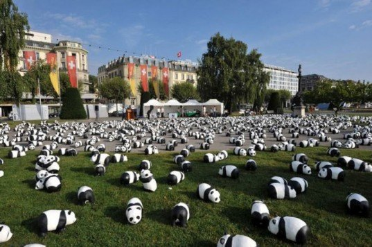 green design, eco design, sustainable design, 1600 Pandas World Tour, Paulo Grangeon, 1600 Pandas World Tour Hong Kong, Clock Tower at the Hong Kong Cultural Piazza, Victoria Park HK, World Wildlife Fund