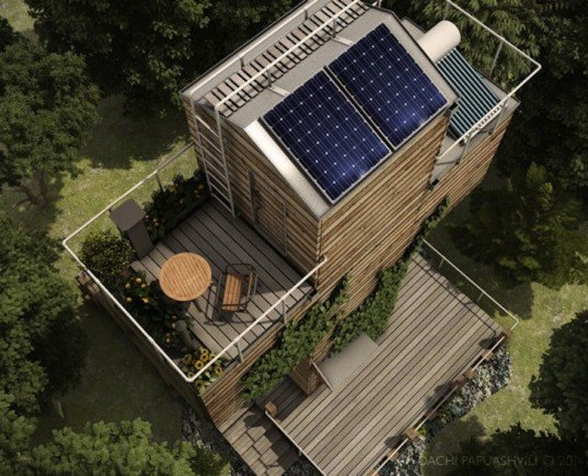 Dachi Papuashvili, cross shaped architecture, micro home, solar power, composting toilet, rainwater catchment, rainwater reservoir, shipping containers, cargotecture, shipping container architecture, energy efficiency, energy efficient home, off grid home, off grid