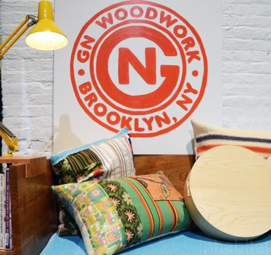 GN Woodwork, Vintage Fabric Pillows, bklyn designs, new york design week, bklyn designs 2014, sustainable design, green design, green furniture, reclaimed wood, sustainable furniture, green interiors, sustainable interiors, green products, eco friendly design, recycled materials, sustainable materials, nydw, new york design week 2014