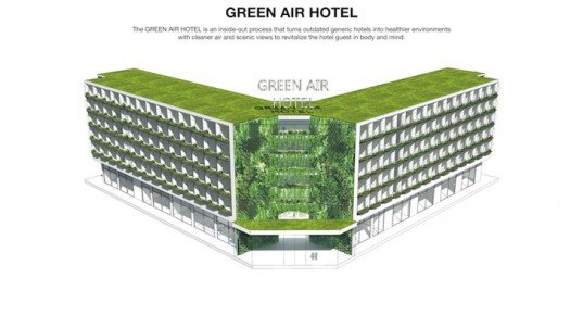 Green air hotel, china, lip chiong, studio twist, radical innovation competition, hotels, hospitality industry, hotel, china air pollution, air pollution, green roofs, green wall, hvac vents, air purifying plants
