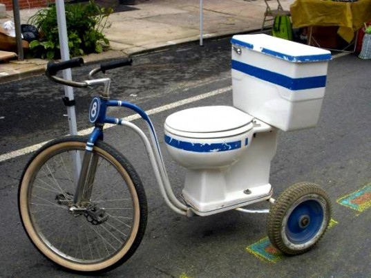 green design, eco design, sustainable design, Camosun College of Visual Arts, toilet bike, recycled toilet, toilet trike, Craigslist, toilet bike from Canada, green transportation, bright ideas, recycled materials