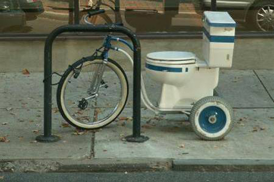 green design, eco design, sustainable design, Camosun College of Visual Arts, toilet bike, recycled toilet, toilet trike