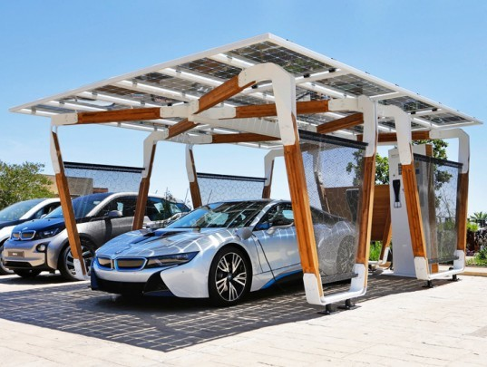 BMW, BMW i3, BMW i8, BMW i, BMW electric vehicle, BMW plug-in hybrid, BMW i Solar Carport concept, solar power, electric vehicle, green car, green transportation