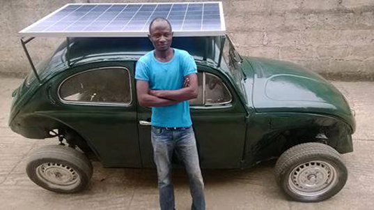 solar-powered car by Segun Oyeyiola, Obagemi Awolowo University, wind-powered vehicle, retrofitted Volkswagen Beetle, solar panels for vehicles, wind turbines for vehicles