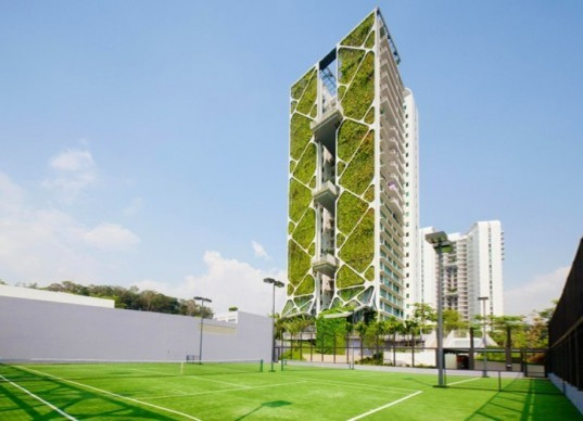 condominium Tree House, Tree House Singapore, CDL Tree House, Guinness World Record, Guinness World Record architecture, world's largest vertical garden, vertical gardens, green skyscrapers, green architecture, sustainable architecture, lower carbon footprint buildings