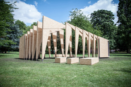 ipt architect, dream pavilion, pavilion, temporary pavilion, timber pavilion, osb, oriented strand board, reader submitted content, v&a museum of childhood, summer triumph pavilion 2014