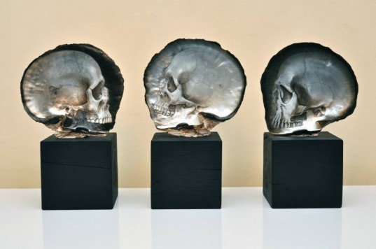 Gregory Halili, Mother of Pearl Skulls, art, Philippine artist skulls, skull art, mother of pearl art, modern art, bas-relief shell skulls