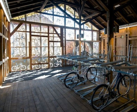 Gulskogen bicycle hotel, bicycle, bicycle hotel, bicycles, norway, drammen, bicycle parking, bike parking, filigree facade, adaptive reuse, renovated building, renovated station house, bike hotel, electric bicycle, double decker bicycle parking